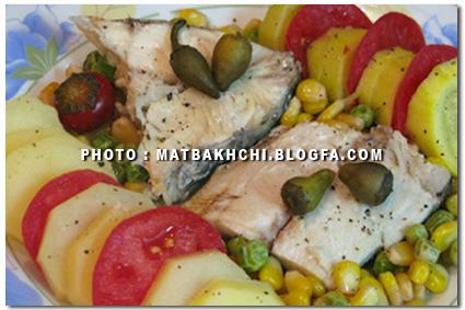 خوراک ماهی بخار پز با سس مارینه